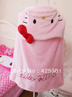 Free Shipping 113*72cm Hello Kitty Cloak Cartoon Coral Fleece Blanket 2-color