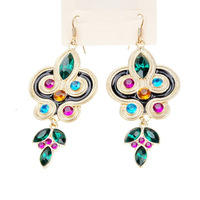 New Design Bijoux Fashion Gold Color Alloy Colorful Imitation Gemstone Traditional Style Drop Earrings For Women E-020