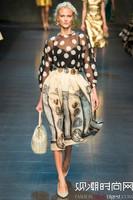 2014 New Arrive Fashion Trend Flare Sleeve Runway Designer Golden Vintage Print 2 Pieces Bohemian Dress Women