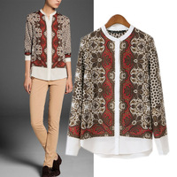 Autumn new arrival 2014 fashion vintage rayon print shirt long-sleeve shirt female top