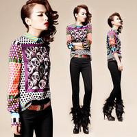 Женский костюм с юбкой 2013 o-neck long-sleeve sweatshirt top cutout lace skirt twinset