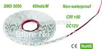 DC12V CRI>90 white/Warm white 60leds/m 13.2W/M 5 Meters/reel  Non-waterproof 10mm PCB, LED Flex Strip SMD 5050