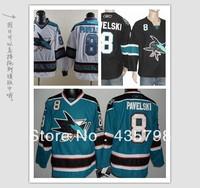 Free shipping men's hockey jerseys Pavelski 8 San Jose Sharks color blue,black,white Embroidery Logos jersey size 48-56