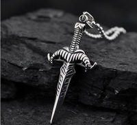 new fashion item sward cross titanium steel punk necklace for men stainless steel floating charm locket egyptian jewelry