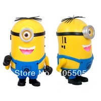Free Ship 100pcs/lot 2013 New Despicable Me 2 cartoon mini speaker support U-disk and TF card with FM radio portable mp3 player