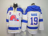 Quebec Nordiques #19 Joe Sakic White C Patch Heritage Hockey Hoodies Old Time Hockey Hoodies