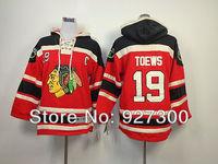 Kids Hoodies Chicago Blackhawks #19 Jonathan Toews Red w/ Black C Patch Hockey Hoodie Authentic Youth Hoodies