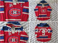Canadiens Maurice Richard #9 C Patch Red CH Old Time Hockey Hoodies Red w Blue Hoodie Lacing Neck Free Shipping Hoodies