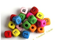 Wholesale - 200x Mixed Colorful Square letters Wooden Charms Spacer Beads Fit Bracelets DIY Have in Stock110847