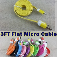 Dual Color V8 Flat Micro USB Cable Noodle Charger Cord Universal for htc for Samsung n7100 s4 s3 For HTC