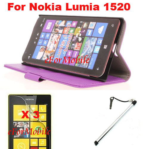 New Slim Wallet Stand Case Mobile Phone Leather case + Screen Protector + Pen For Nokia Lumia 1520(China (Mainland))