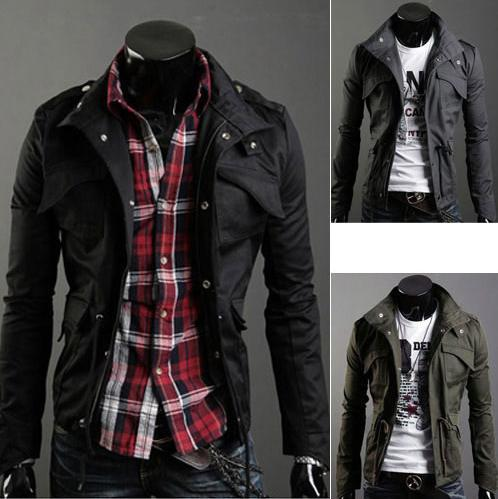 Free Shipping Hot Slim Sexy Top Designed Men's Jacket Coat Cool Men's Clothing Color:Black,Army-green,Gray Size:M-XXL(China (Mainland))