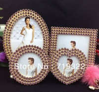 "Free DHL European popular zinc alloy frames inlaid purple/pink diamonds size 3""+3""+4""+6"" wedding photo frame bridal gifts 8121#"