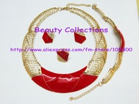 Free Shipping! African costume jewelry set, including necklace,earrings,bracelet and ring JE576 red