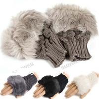 Fashion Winter Arm Warmer Fingerless Gloves, Knitted Fur Trim Glove Mitten Imitation rabbit hair glove