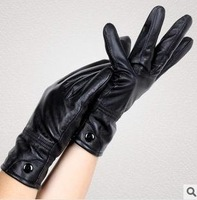 Free shipping contracted fashion lady's winter to keep warm with sheep leather gloves with thick fingers black gloves