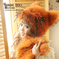 Magic large dolls autumn and winter luxury big fur stereo the cat ear cartoon style   hat Free shipping