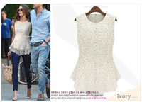 free shipping wholesale Spring Summer New Fashion Women Lined 100% Cotton Lace European American Sexy Sleeveless tops dress