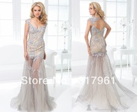 2014 Tony Bowls New Arrival Sexy V-Neck Long Mermaid Prom Dresses Crystal Elegant Evening Dresses Sheer Tulle PL-096