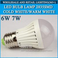 Wholesale 150PCS LED bulb lamp High brightness E27 6W 7W 2835SMD Cold white/warm white AC220V 230V 240V Free shipping