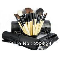 2013 new style hot selling 18 pieces professional makeup brush set with black pouch and gift case cosmetic brush set