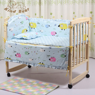 Paint solid wood baby bed crib cradle concentretor 100% cotton bedding mosquito net(China (Mainland))