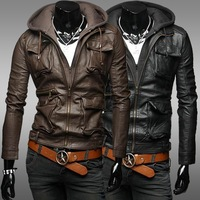 Classic detachable cap design leather short slim clothing male casual stand collar water wash motorcycle leather clothing