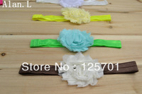 "24 lots Hair accessory baby girl bow 12 2.5"" frayed chiffon flowers clips 12 Glossy headband FREE SHIPPING TO U.S/U.K/ONLY"