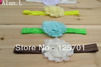 "24 lots Hair accessory baby girl bow 12 2.5"" frayed chiffon flowers clips 12 Glossy headband FREE SHIPPING TO U.S/U.K/ONLY"
