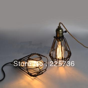 brown twisted cable Unique American Style Edison Pendant Light,Vintae Bird Cage Decoration Pendant Lamp/Lights E27/E26 110V/220V