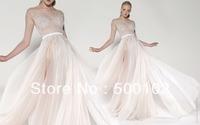 Sexy Bateau Portrait Appliqued Lace Beaded Sash Side Slit Chiffon Prom Dresses