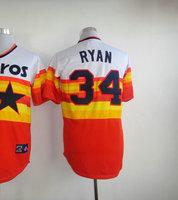 Top quality American Baseball Jersey #34 Nolan Ryan White/Orange Throwback Jersey Men's Size 48-56 All Stitched(Sewn on)