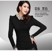 2013 autumn and winter women all-match lace slim waist slim rabbit fur plus velvet thickening basic Women long-sleeve shirt