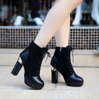2013 women's shoes autumn boots winter shoes female high thick heel boots winter boots martin boots thick heel boots