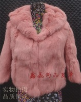 Fur coat rabbit fur 2013 slim short fur design three quarter sleeve medium-long rabbit fur hooded free shipping