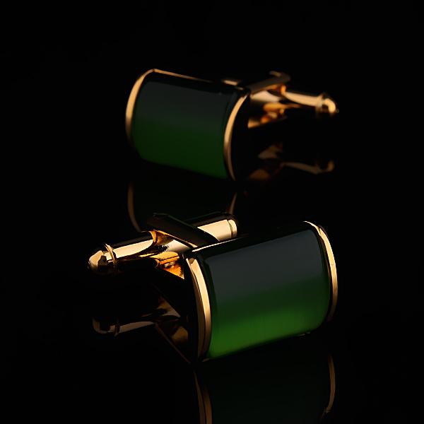 Rare Exquisite Gold Plated Green Stone Cat-eye Cufflinks Men's Wedding French Shirt Dress Cuff Links XMAS Gift(China (Mainland))
