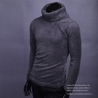 Winter thickening slim sweater male big polo-necked collar basic sweater