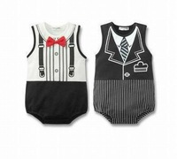 Sleeveless Baby body gentleman bodysuit 2 color 3 pcs/lot for summer free shipping