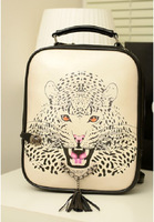 Free Shipping 2013 New Autumn Winter PU Leather Woman Animal Printed bag Vintage Double Use  Leopard Tiger  Print Backpack