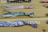120pcs 12 colors thin Stretchy Soft knotted elastic  ties ponytail holder bracelets Stripe animal flower print glossy hair ties