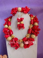 Free ship!Excellent!!!Wholesale Flower Strand Coral jewelry set