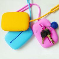 Fashion student Portable Silicone key case wallets Card holder durable key bag square I shape Free Shipping