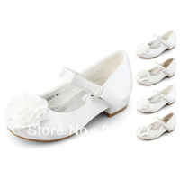 SHOEZY Kids Girls Children White Ivory Flower Wedding shoes heels Prom Dress Mary Jane Style Velcro Low Heels Shoes