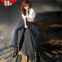 Women's plus size elastic buttons pencil pants jeans female trousers