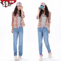2013 autumn and winter 100% women's jeans elastic cotton long trousers pants denim