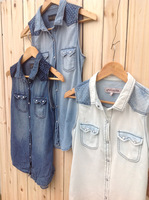 New 2014 Womens Clothing Women Denim Vest European Casual All Match Patchwork Female Pocket  Sleeveless Shirts Jeans Top Brazil