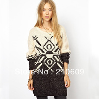 2013 autumn&winter newest  western long-sleeved round collar two-color jacquard lady's long sweater
