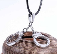Korean Lovers Couples Jewelry Personalized Leather Chain Handcuff Necklace 2piece/set  Free shipping HeHuanXLQ023