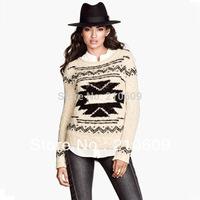 out of stock 2013 autumn&winter newest  ethnic fashion popular rolloff round collar geometric designs women's sweater