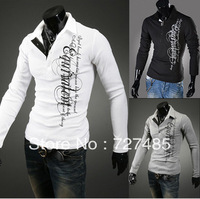 2013 fall new letters printed lapel pure cotton men's long-sleeved polo shirt